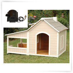 Precision Pets Outback Savannah Dog House with Porch and cooling fan.  Covered porch.  I love it.