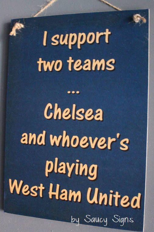 Chelsea Football Sign  Rustic Chelsea versus West Ham