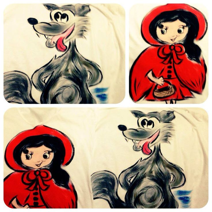 The Wolf and Red Riding Hood - hand painted t-shirts