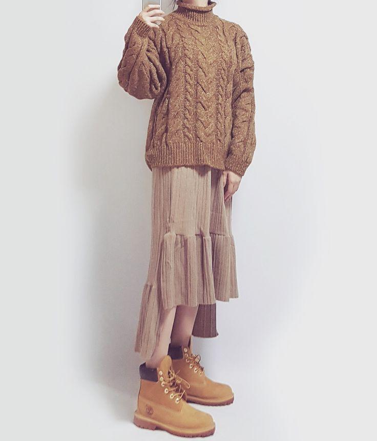 banetd 바냇디 korean shoppingmall naver storefarm  -- 2016fw fashion lookbook / camel color / twist knit , unbalance knit skirt