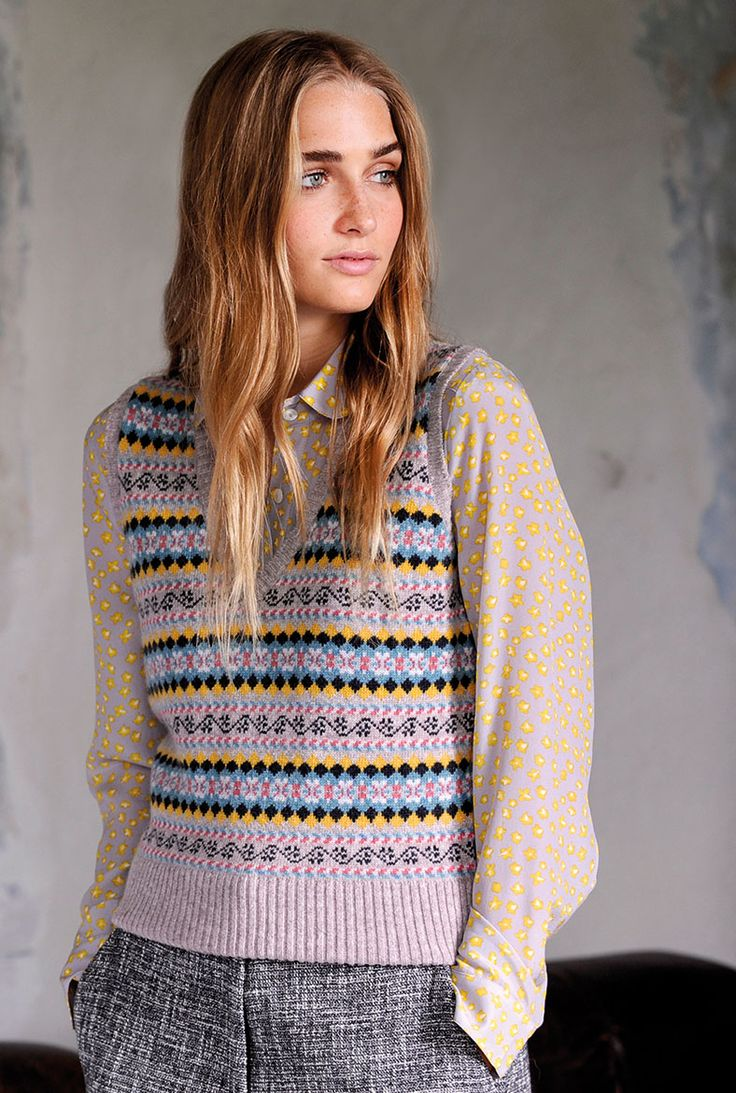 Cashmere Fair Isle Tank - Women's Jumpers | Brora