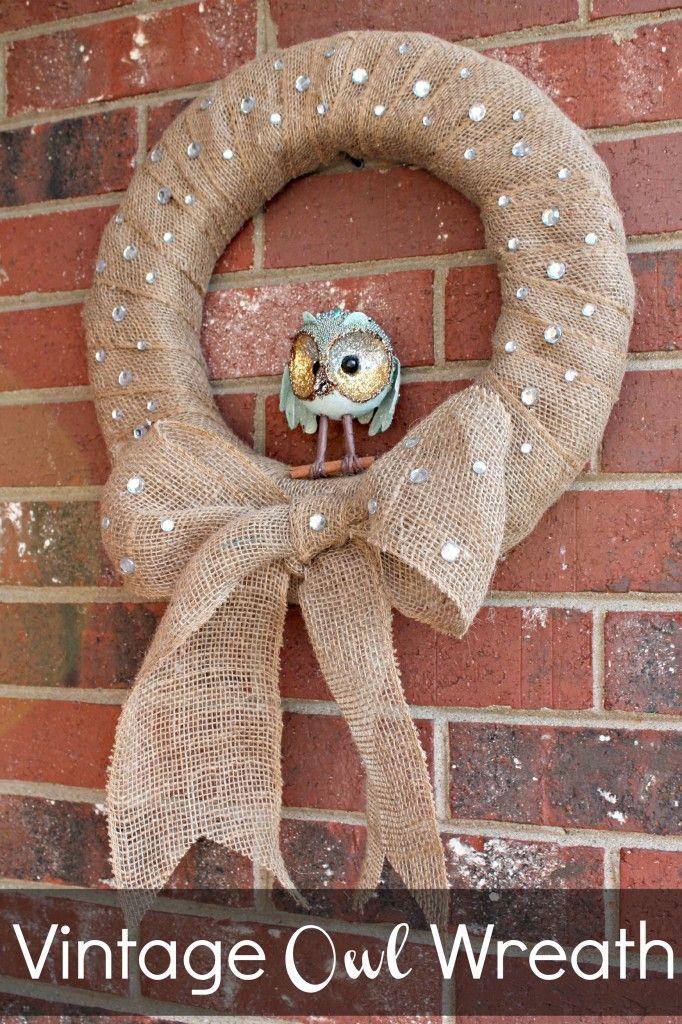 Vintage Burlap Owl Wreath--wrap foam wreath with burlap and stick on sparkles
