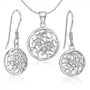 Moderní stříbrný set šperků se zirkony aff#