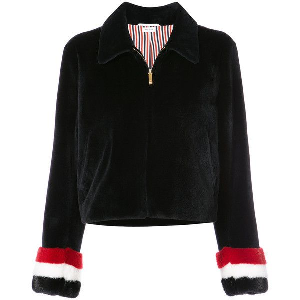 Thom Browne Zip Up Golf Jacket With Red, White And Blue Long Hair Mink... (€9.575) ❤ liked on Polyvore featuring outerwear, jackets, blue, mink jacket, red zip up jacket, golf jackets, blue and white jacket and collar jacket
