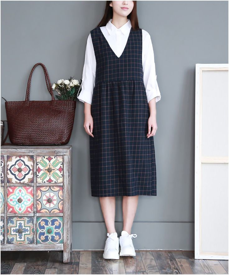 Check Pinafore Dress