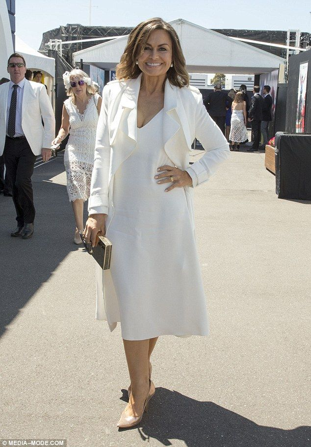 She's flawless! Lisa Wilkinson, 56, cut a chic figure in an all-white ensemble as she attended Melbourne's Derby Day 2016 on Saturday
