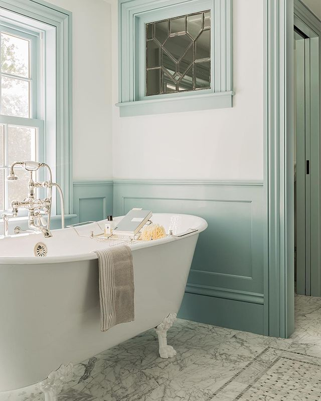 White Roll Top Bath With Farrow And Ball Painted Panelling In A Duck Egg Blue Colour Bathroom Color Schemes Bathrooms Remodel Bathroom Interior Design