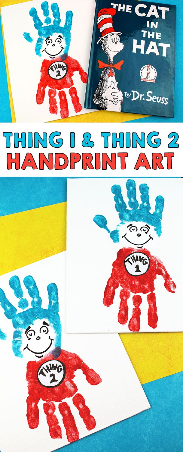 Create your own handprint Thing 1 and Thing 2 handprint art from the popular book by Dr. Seuss called Cat In The Hat. With National Read Across America Day approaching, we've been pulling out and reading some of our favorite Dr. Seuss books which also means Dr. …