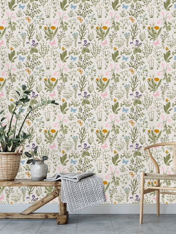 Herbs And Wild Flowers Removable Wallpaper Peel And Stick Etsy Wall Wallpaper Removable Wallpaper Victorian House Interiors
