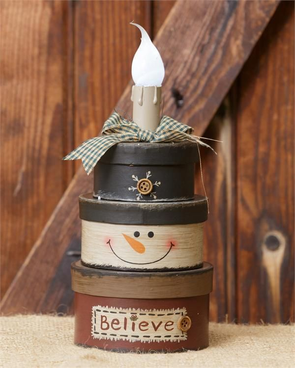 New Country Primitive Christmas SNOWMAN STACKING BOXES Electric Lamp Light #Unbranded