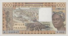 1,000 (1000) Francs 's Banknote (Front) Date: 1981. Letra A, Costa do Marfim.
