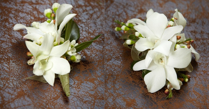 white dendrobium orchid corsage and bout.