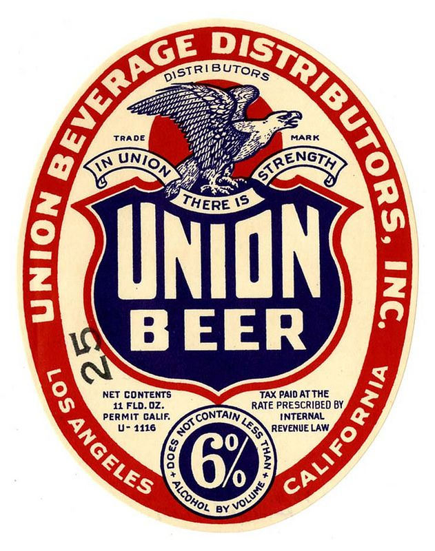 Title: Beer label, Union Beverage Distributors, Inc., Union Beer