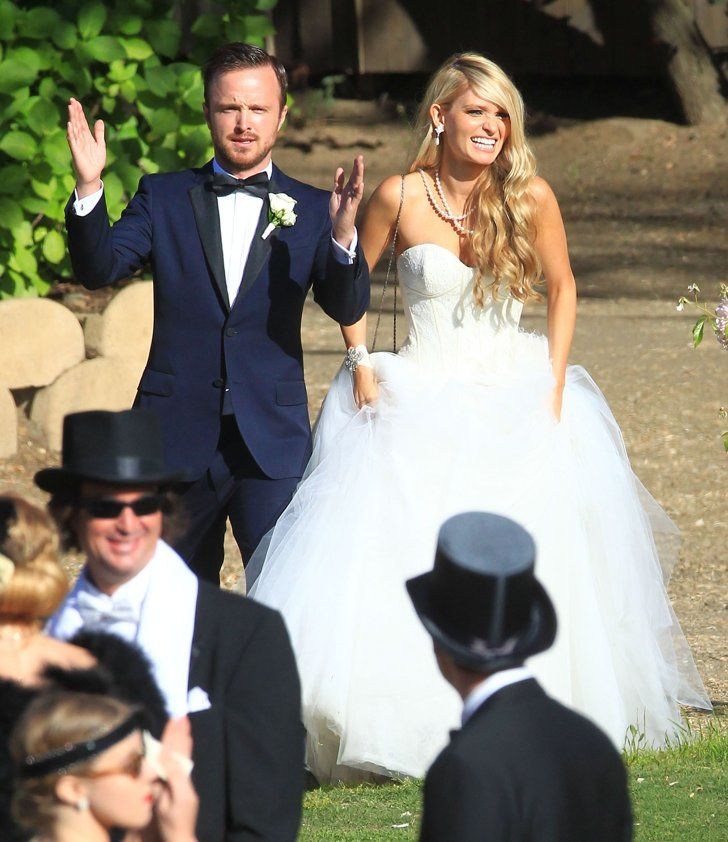 Pin for Later: The Ultimate Celebrity Wedding Gallery  Breaking Bad's Aaron Paul married Lauren Parsekian in Malibu during a May themed wedding.
