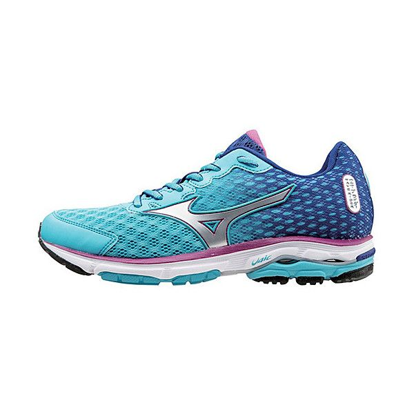 Mizuno Blue Atoll & Wild Aster Wave Rider 18 Running Shoe ($69) ❤ liked on Polyvore featuring shoes, athletic shoes, blue shoes, mizuno shoes, athletic running shoes, blue running shoes and rubber sole shoes