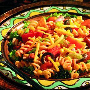 Southwestern Pasta Salad  mayo ketchup taco seasoning for dressing