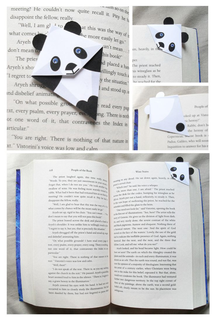 Panda corner bookmark, printable pdf file for 2$