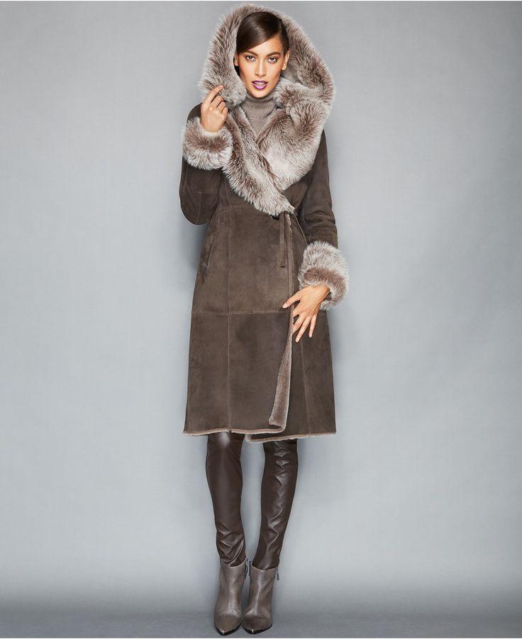 The Fur Vault Toscana Shearling Hooded Wrap Coat - Coats - Women - Macy's