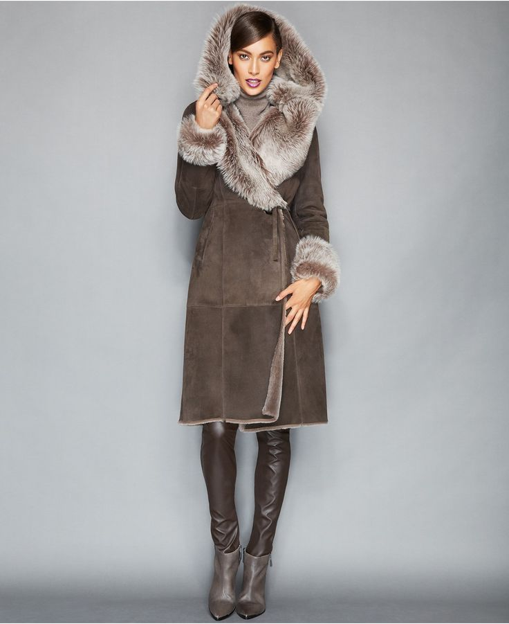 The Fur Vault Toscana Shearling Hooded Wrap Coat - Coats - Women - Macy's