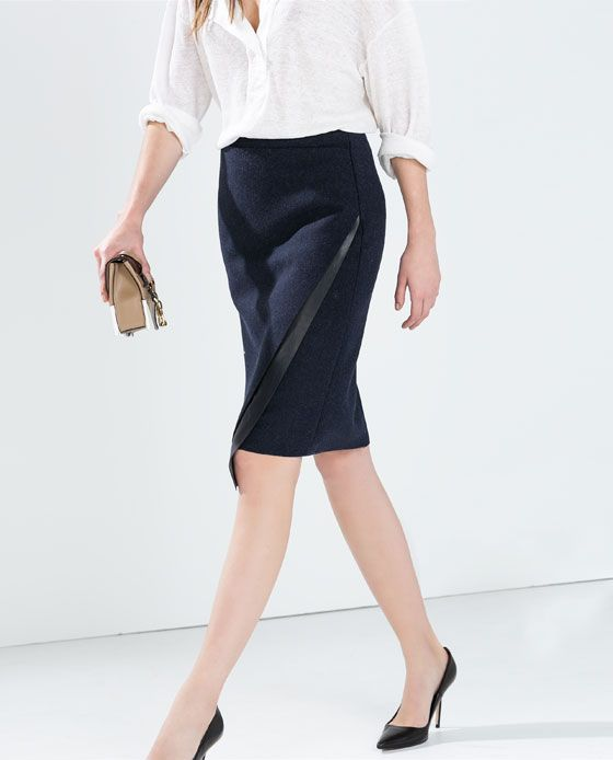 Image 4 of SKIRT WITH FAUX LEATHER APPLIQUE from Zara