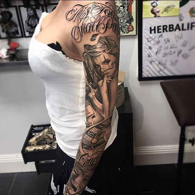 Chicano Tattoo Sleeve Gangster Sleevetattoos Cool Tattoos Gangster Tattoos Chicano Tattoos Sleeve