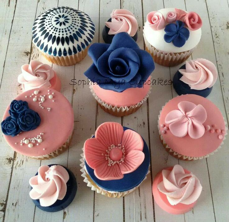 Navy and coral cupcakes
