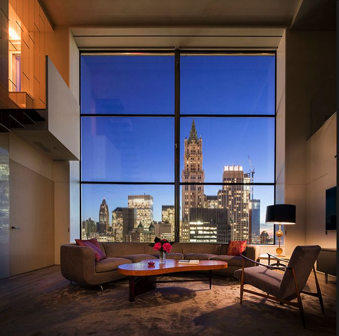 A huge penthouse of a converted office building in tribeca new york by steven harris architects