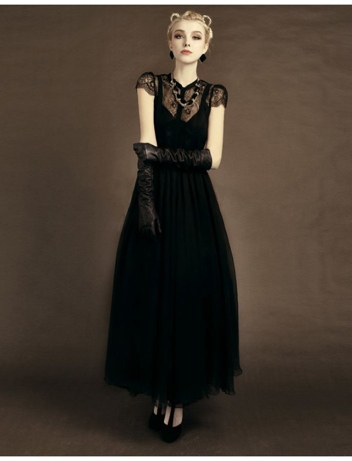 Vintage Black Lace Long Formal Dresses