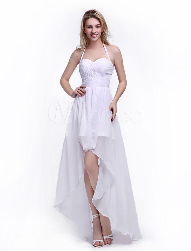 Vestito da damigella d'onore con collo arrotondato a-linea asimmetrico con pieghettature in stile naturale in chiffon bianco