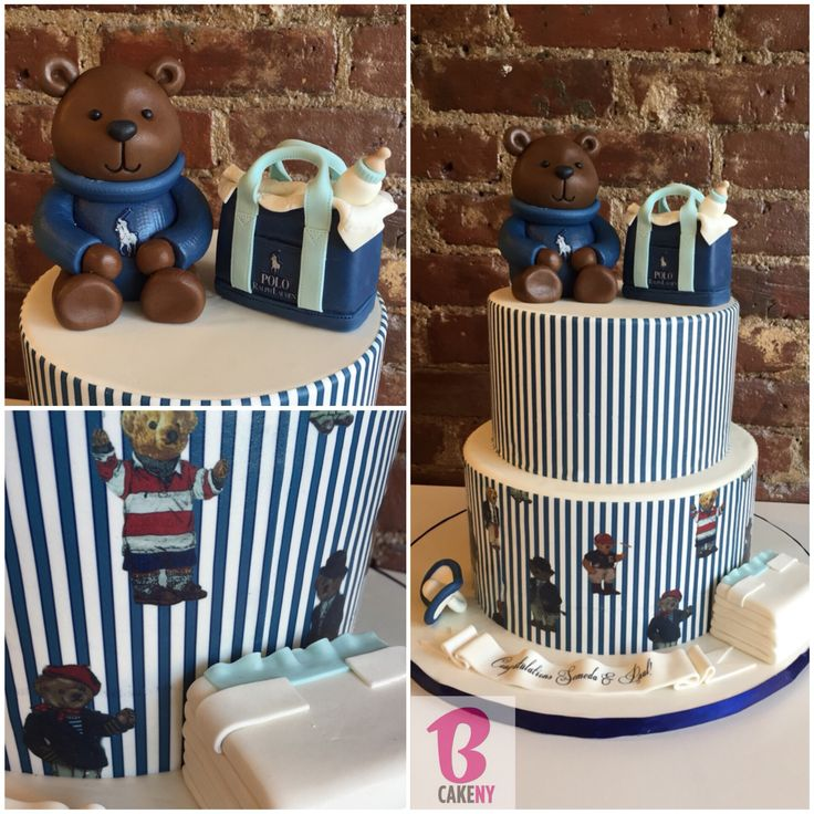 Polo Bear Baby Shower Cake! #alledible #polocake #ralphlauren #customcake #customcakes