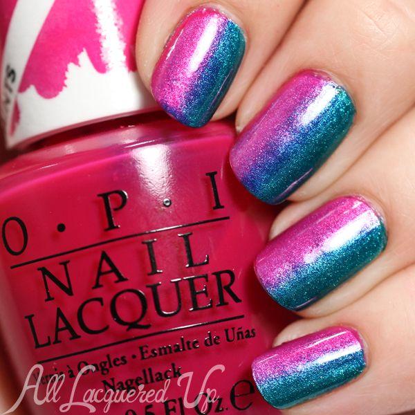 OPI Color Paints Gradient Nail Art via @alllacqueredup