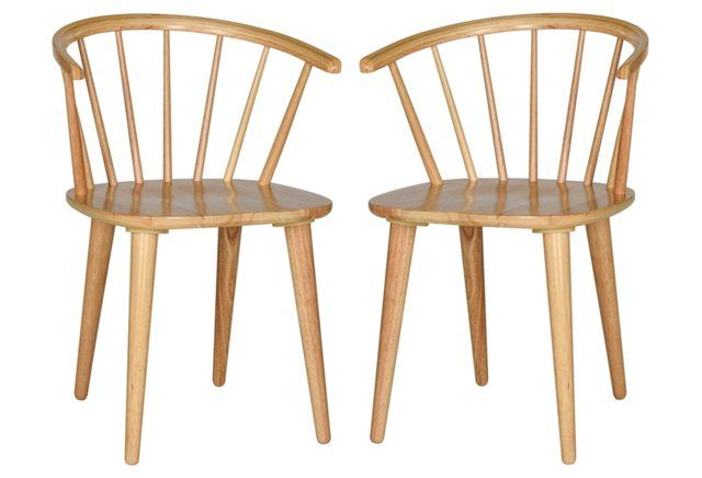 Natural Kathryn Side Chairs, Pair