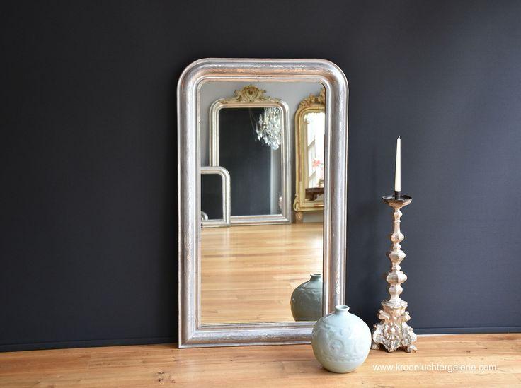 Antieke Franse spiegel, Bladzilver (H:123xB:72cm) Ref. 439 www.kroonluchtergalerie.com