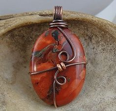 Wire Wrapped Stone Pendant - copper