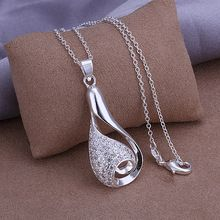 2015 new arrived Wholesale 925 sterling silver long water of drop pendant necklace accessories jewelry  for women fine jewerly (Hong Kong)