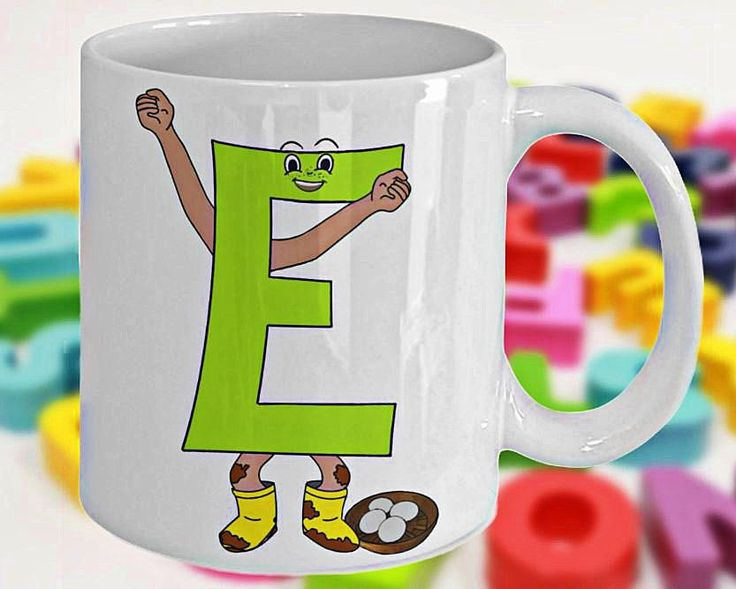 Alphabet Mug with Funny ABC Cartoon Characters or Children's Initials, Fun Gift for Kids, Letter E, 11oz, White Ceramic, Double-Sided Print by PortunaghDesign on Etsy