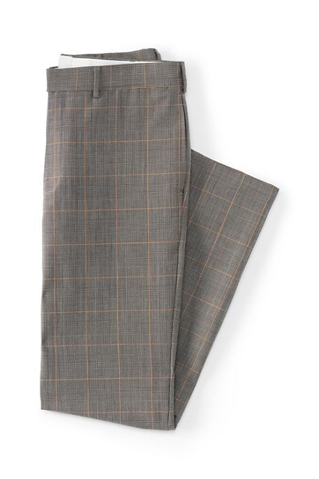 $89 Land's End Men's Tailored Fit Wool Year'rounder Dress Trousers in color  - Khaki Prince of Wales