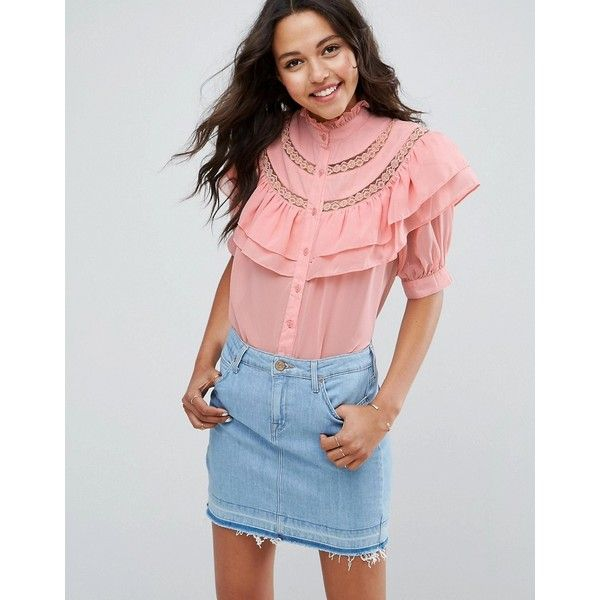 ASOS Short Sleeved Blouse with Ruffle and Lace Insert ($54) ❤ liked on Polyvore featuring tops, blouses, pink, short sleeve tops, high neck ruffle blouse, party blouses, pink blouse and ruffle top