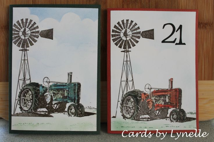 Kaszazz Tractor & Windmill stamp using the masking method. Created by A Taylor Made Creations.