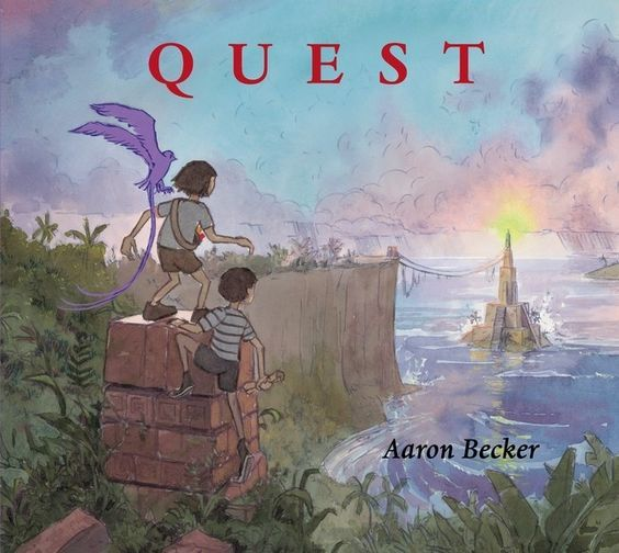 """""""Quest"""", by Aaron Becker - On a rainy day in a city park, the girl who starred in Journey and the boy introduced at the end take refuge by a doorway under a bridge. To their surprise, a king emerges from the door just long enough to pass the two a map before soldiers apprehend him. Returning to the magical Pallonezia, they find the walled city in flames, under siege."""