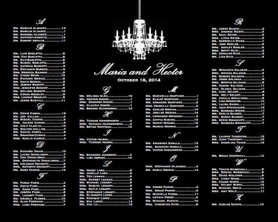 Black & White Chandelier Seating Chart by lemondropweddingshop