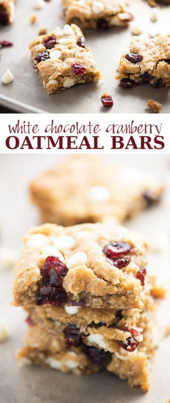 Super soft and chewy oatmeal bars studded with white chocolate chips and dried cranberries. My kids love these cookie bars!
