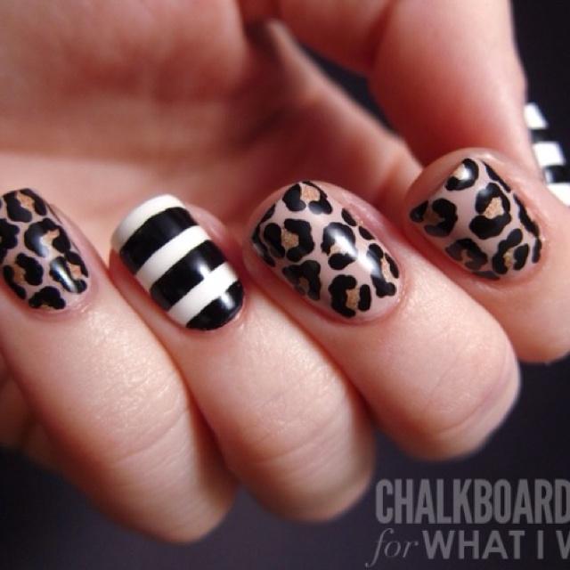 Cheetah and Striped Nails