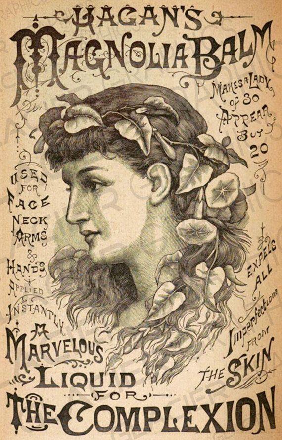 Vintage Apothecary Advertisement Hagen's Magnolia Balm Illustration Poster Print Scrapbooking DIY Digital Download – Ira Drammeh