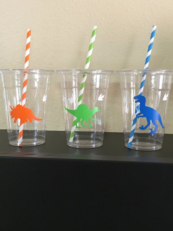 These are great for any dinosaur inspired party. Each cup is 16 oz. and made from a sturdy disposable plastic. These are decorated with vinyl stickers and come with matching paper straws and lids. These are perfect for small children who easily spill. You can also stuff these with candy, snacks, and little toys for a great party favor. There are many options available: 12 count 16 count 20 count 25 count 30 count 40 count 50 count  Please click the amount button to see pricing on these cups…