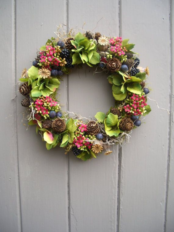 Hydrangea, Kalanchoe, Cone and Berry Wreath