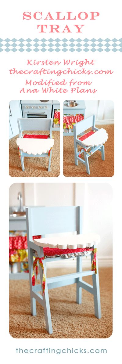 how stinking cute is this scalloped tray on this handmade doll high chair? Way cute, that's what. By the Crafting Chicks!