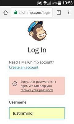 MailChimp log-in error message