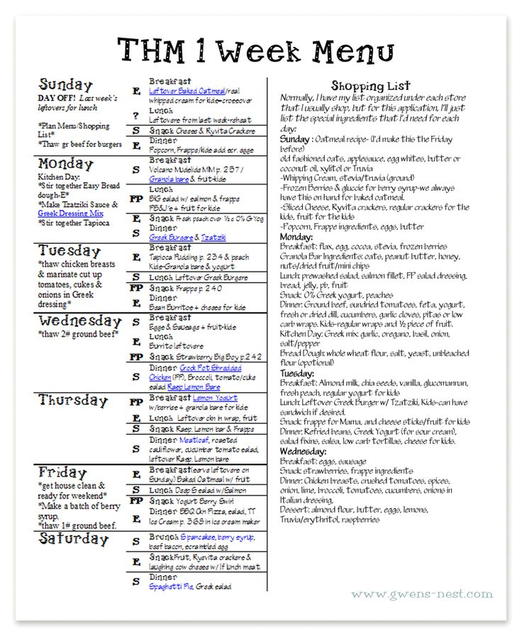 157 Best Thm Printable Meal Plans Images On Pinterest | Thm