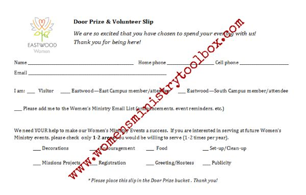 Sample door prize and volunteer slip - collect information when drawing for a door prize.